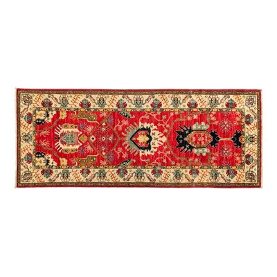 One-of-a-Kind Eclectic Vivid Hand-Knotted Red Area Rug Rug Size: Runner 32 x 71