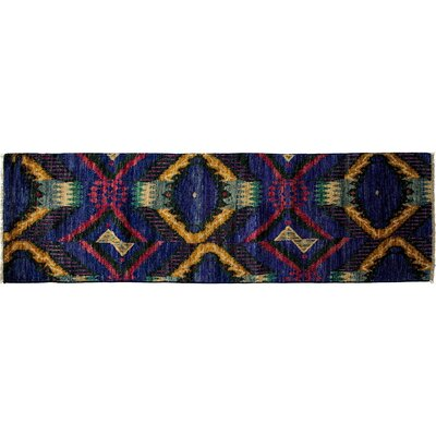 Ikat Hand-Knotted Purple Area Rug