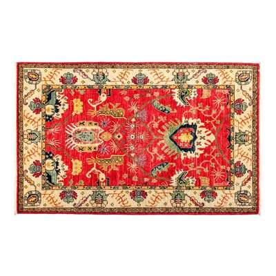 One-of-a-Kind Eclectic Vivid Hand-Knotted Red Area Rug Rug Size: Rectangle 83 x 101