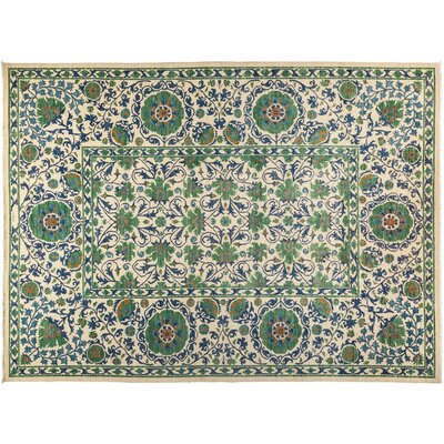 Suzani Hand-Knotted Green Area Rug