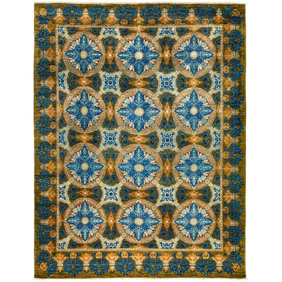 One-of-a-Kind Suzani Hand-Knotted Blue Area Rug Rug Size: Rectangle 92 x 118