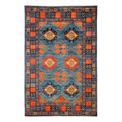 One-of-a-Kind Ersari Hand-Knotted Blue Area Rug Rug Size: Rectangle 51 x 67