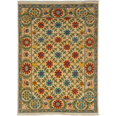 One-of-a-Kind Suzani Hand-Knotted Multicolor Area Rug Rug Size: 43 x 58