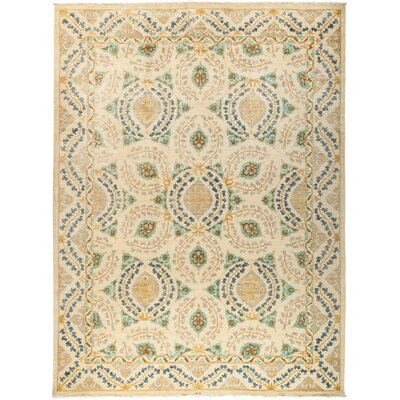 One-of-a-Kind Suzani Hand-Knotted Beige Area Rug Rug Size: 104 x 139
