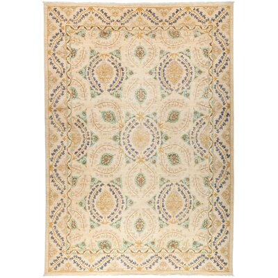 One-of-a-Kind Suzani Hand-Knotted Beige Area Rug Rug Size: 103 x 14