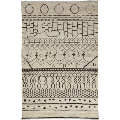 One-of-a-Kind Moroccan Hand-Knotted Beige Area Rug Rug Size: 51 x 8