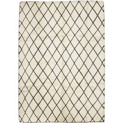 Moroccan Hand-Knotted Beige Area Rug Rug Size: 63 x 9