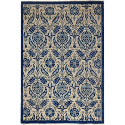One-of-a-Kind Suzani Hand-Knotted Blue Area Rug Rug Size: 56 x 94
