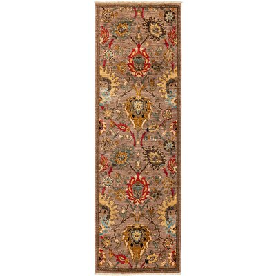 Eclectic Vivid Hand-Knotted Brown Area Rug