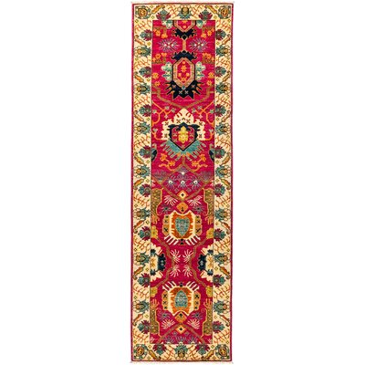 Eclectic Vivid Hand-Knotted Pink Area Rug