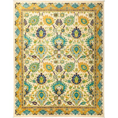 One-of-a-Kind Eclectic Vivid Hand-Knotted Yellow Area Rug Rug Size: Rectangle 8 x 910