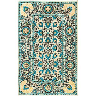 One-of-a-Kind Suzani Hand-Knotted Blue Area Rug Rug Size: 51 x 8