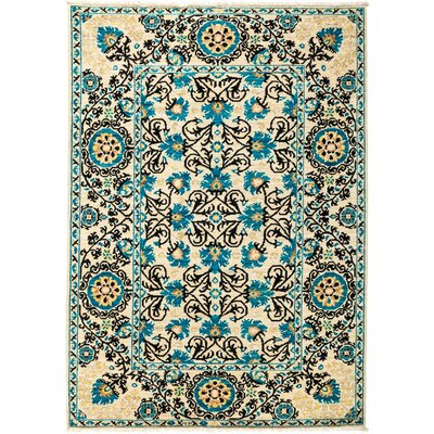 One-of-a-Kind Suzani Hand-Knotted Blue Area Rug Rug Size: 44 x 61