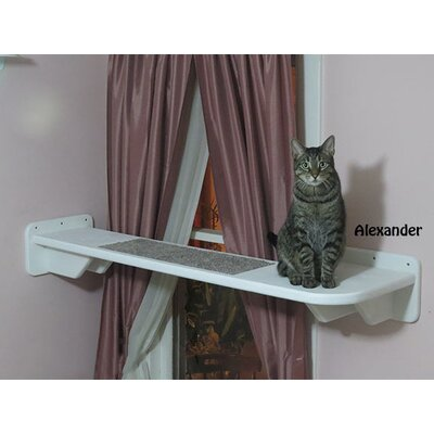 8 L-Shaped Right Facing Window Cat Perch Color: White / Dark Brown
