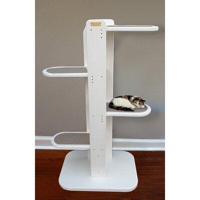 Purrsilla Right Facing Cat Tree Size: 60 H x 32 W x 24 D, Color: White / Gray
