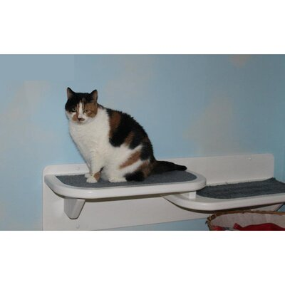 8 Left Facing Double Cat Perch Color: White / Dark Brown