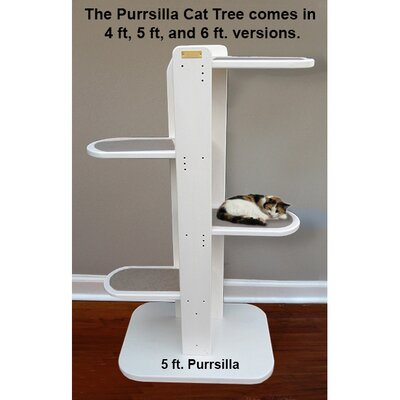 Purrsilla Left Facing Cat Tree Size: 60 H x 32 W x 24 D, Color: White / Gray