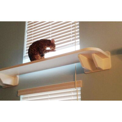 8 Window Cat Perch Size: 8 H x 61 W x 18 D, Color: White / Dark Brown
