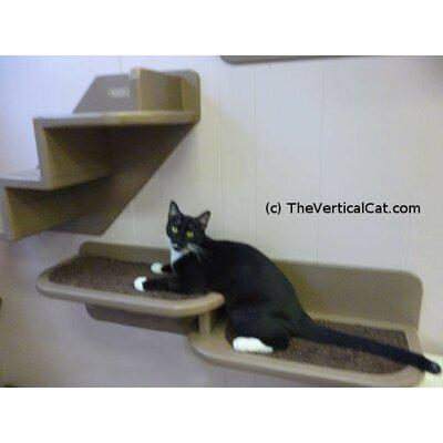 8 Right Facing Double Cat Perch Color: Espresso / Gray