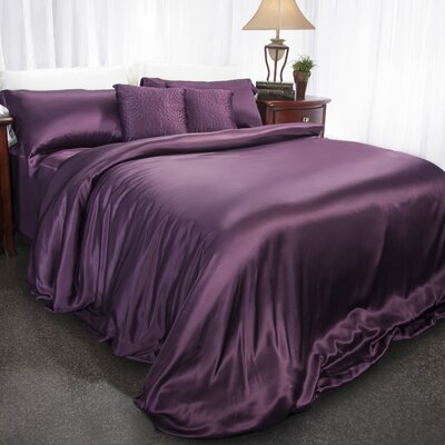 Aus Vio Mulberry Silk Duvet Cover Color: Iris, Size: King/California King