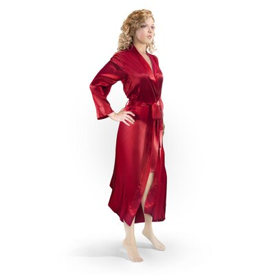 Aus Vio Mulberry Silk Robe Size: Small/Medium, Color: Red