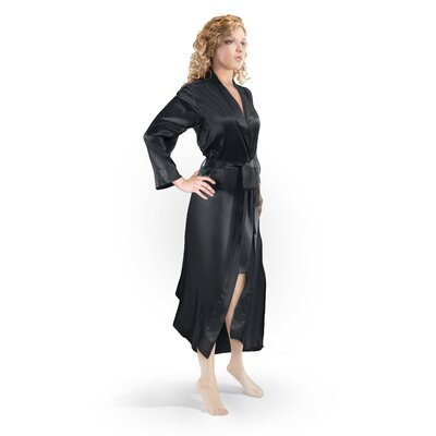 Aus Vio Mulberry Silk Robe Color: Black, Size: Medium/Large