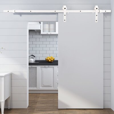 Classic Bent Strap Sliding Door Track Barn Door Hardware Finish: Matte White
