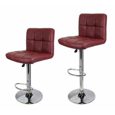 Adjustable Height Swivel Bar Stool Upholstery: Wine Red