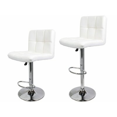 Adjustable Height Swivel Bar Stool with Cushion Upholstery: White