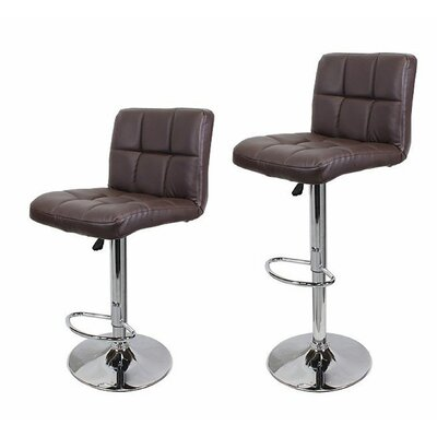 Adjustable Height Swivel Bar Stool with Cushion Upholstery: Coffee Brown