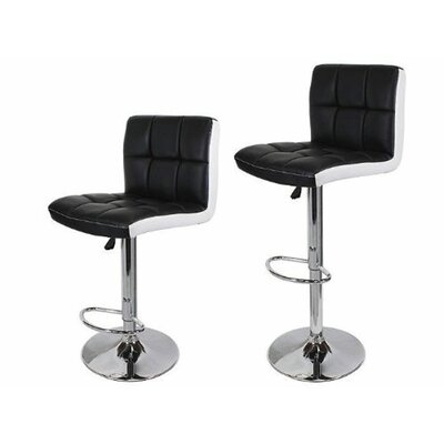 Adjustable Height Swivel Bar Stool with Cushion Upholstery: Black/White