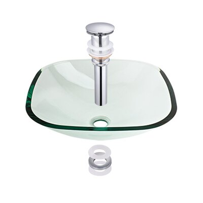 Tempered Glass Rectangular Vessel Bathroom Sink
