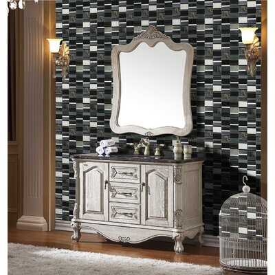 Tallia 12 x 12.5 Glass/Stone/Metal Mosaic Tile in Black/Slate Gray