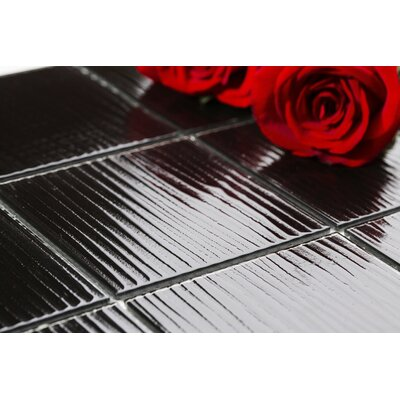 Shilla 12 x 12 Glass Mosaic Tile in Black