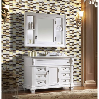 Tallia 12 x 12.5 Glass/Stone/Metal Mosaic Tile in Mahogany/Gold