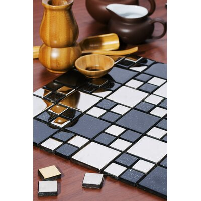 Rousha 12 x 12 Glass Mosaic Tile in Black/Silver