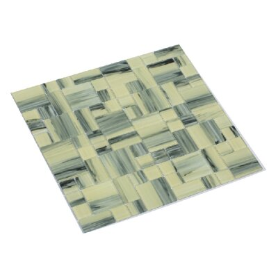 Stella 12 x 12 Glass Mosaic Tile in Creamy Yellow/Gray
