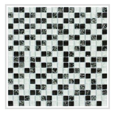 Mesh Pess 12 x 12 Glass/Stone Mosaic Tile in Black/White