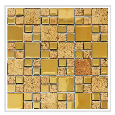 Rousha 12 x 12 Glass Mosaic Tile in Shiny Gold
