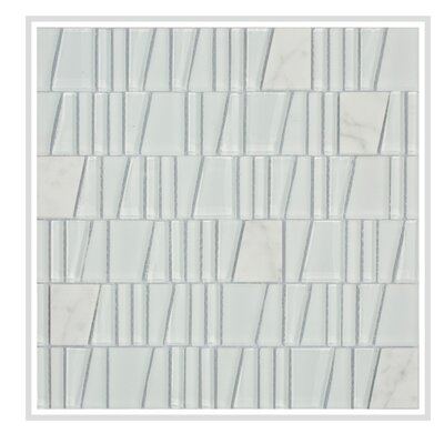 Avery 12 x 12 Glass/Stone Mosaic Tile in White