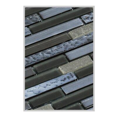 Fara 12 x 15 Glass/Stone Mosaic Tile in Slate Gray/Black