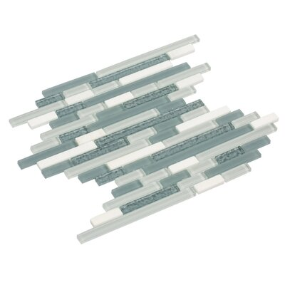 Fara 12 x 15 Glass/Stone/Slate Mosaic Tile in White/Light Gray