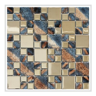 Rousha 12 x 12 Glass Mosaic Tile in Purple/Silver