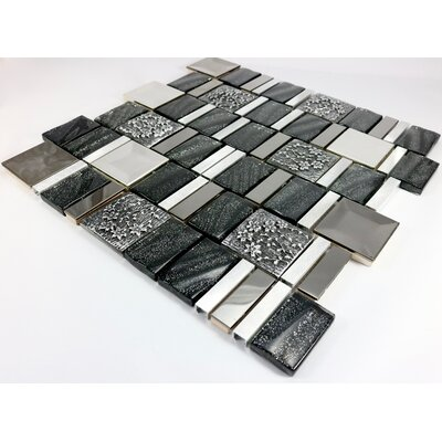 Vitray 12 x 12 Mixed Material Mosaic Tile in Black