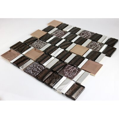 Vitray 12 x 12 Mixed Material Mosaic Tile in Brown