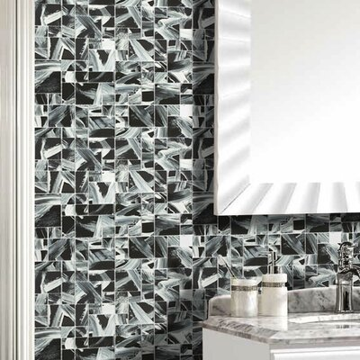 Stella 12 x 12 Glass Mosaic Tile in Black/Beige