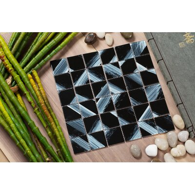 Stella 12 x 12 Glass Mosaic Tile in Black/White