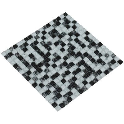 Mesh Pess 12 x 12 Glass/Stone Mosaic Tile in Black/White