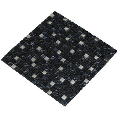 Mesh Pess 12 x 12 Glass/Stone Mosaic Tile in Black/Silver