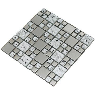 Rousha 12 x 12 Glass Mosaic Tile in Silver